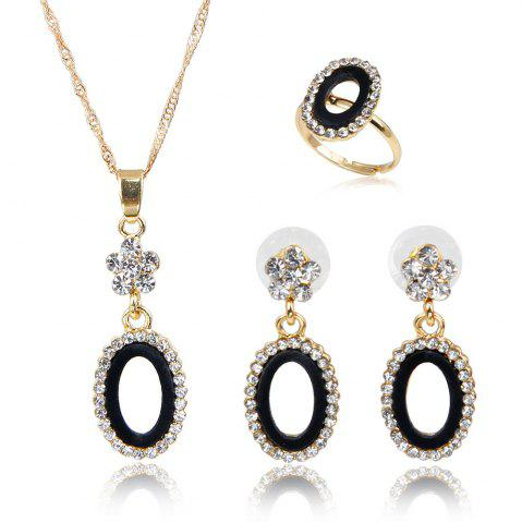 Fashion Women's Fashion with Diamond-encrusted Alloy Protective Earring Necklace