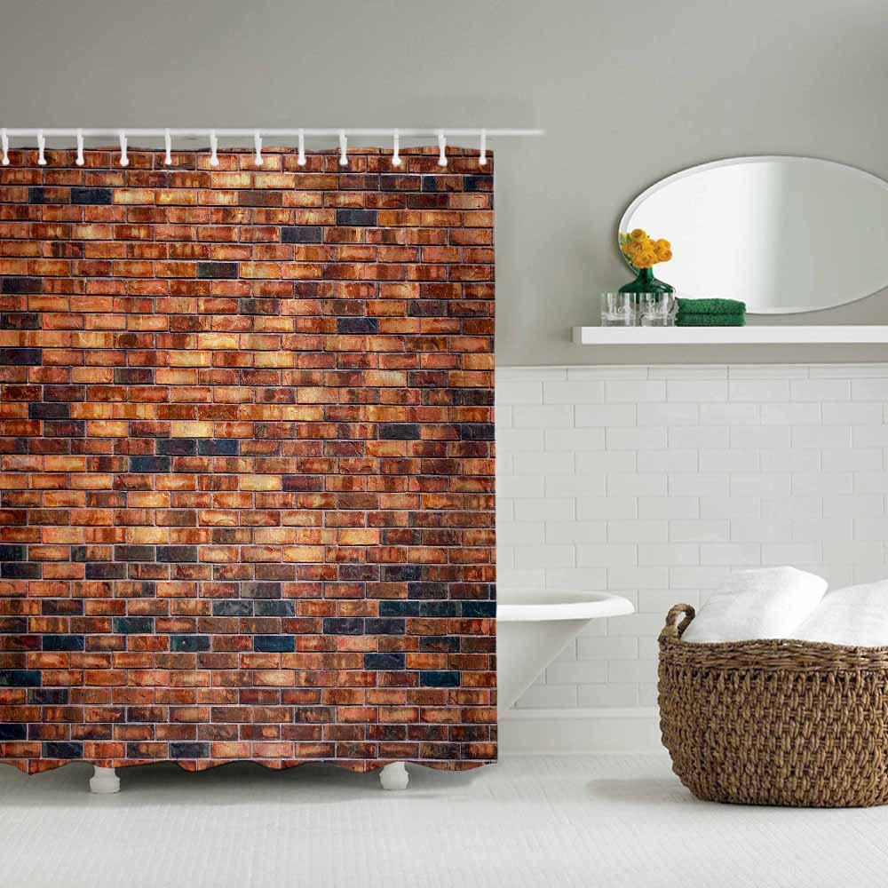 New Red Brick Wall Bathroom Waterproof Polyester Shower Curtain