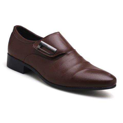 Sale ZEACAVA Men Large Size Pointed Toe Metal Buckle Business Casual Leather Shoes