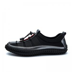 ZEACAVA Men's Leather Splicing Stylish Bungee Closure Casual Sneakers -