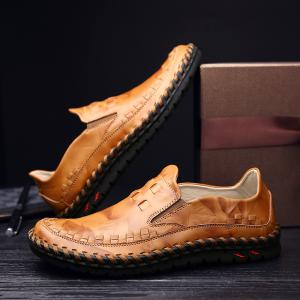 ZEACAVA New Men Leather Slip On Outdoor Casual Soft Comfortable Flat Oxfords Shoes -