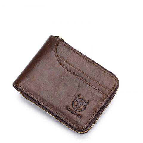 Unique The Cow Ceather New Head Layer Cowhide Multi-Function Card Three Folding Driving License A Zipper Leather Wallet