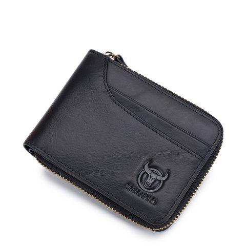 Buy The Cow Ceather New Head Layer Cowhide Multi-Function Card Three Folding Driving License A Zipper Leather Wallet