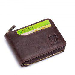 The Cow Ceather New Head Layer Cowhide Multi-Function Card Three Folding Driving License A Zipper Leather Wallet -