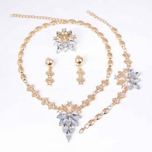 Gold-plated Four-piece Necklace Earrings with Earrings -