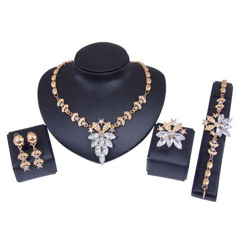 Latest Gold-plated Four-piece Necklace Earrings with Earrings
