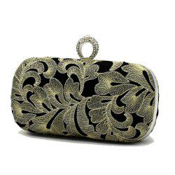 Vintage Style Embroider with Rrhinestone Ring Evening Clutch Bag -