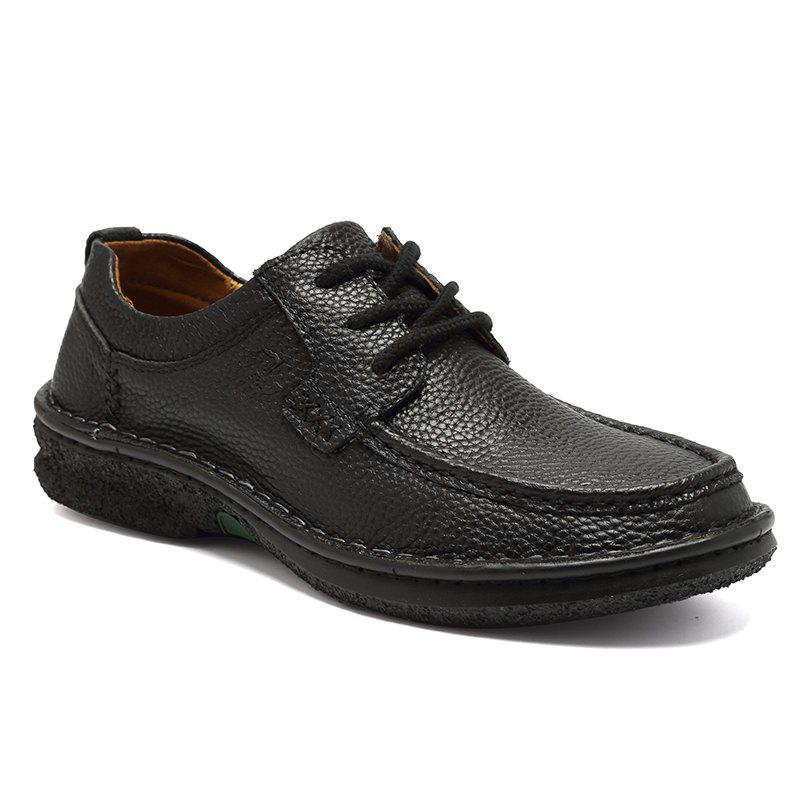 ZEACAVA Men Big Head confortable à lacets en cuir Business Casual Chaussures