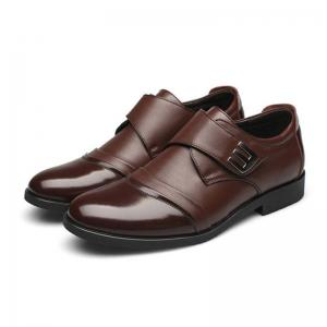 Men Classic Color Blocking Hook-Loop Business Casual Leather Shoes -