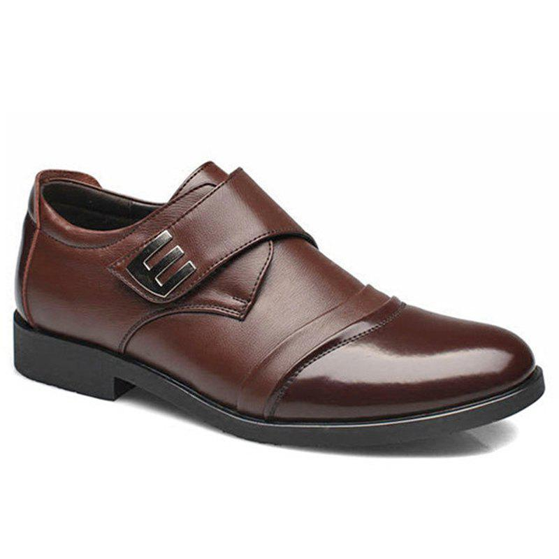 Shop Men Classic Color Blocking Hook-Loop Business Casual Leather Shoes