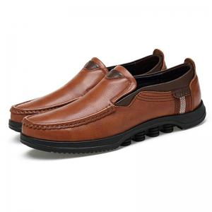 Men Large Size Cow Leather Slip On Soft Casual Shoes -