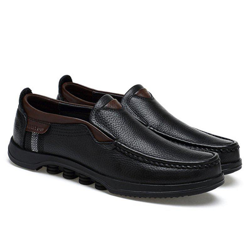Best Men Large Size Cow Leather Slip On Soft Casual Shoes