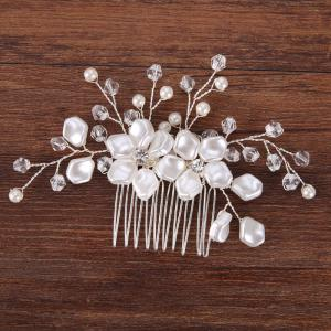 White Flower Shape Crystal Hair Comb Hair Jewelry for Wedding Bride -