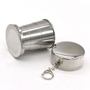 Collapsible Cup Stainless Steel Portable Folding Metal Telescopic Keychain Cups Mug for Excursion Outdoor Travel Camping -