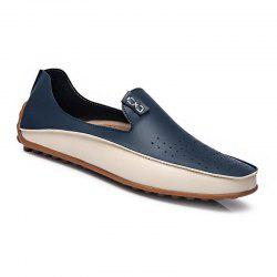 Men Large Size Color Blocking Slip Flat Casual Driving Loafers Shoes -