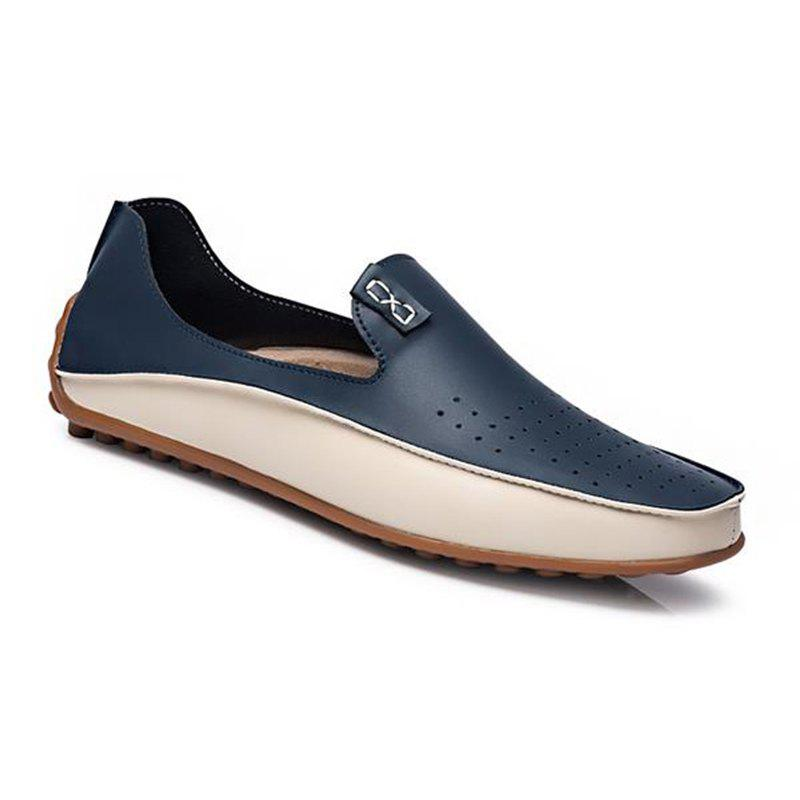 Chic Men Large Size Color Blocking Slip Flat Casual Driving Loafers Shoes