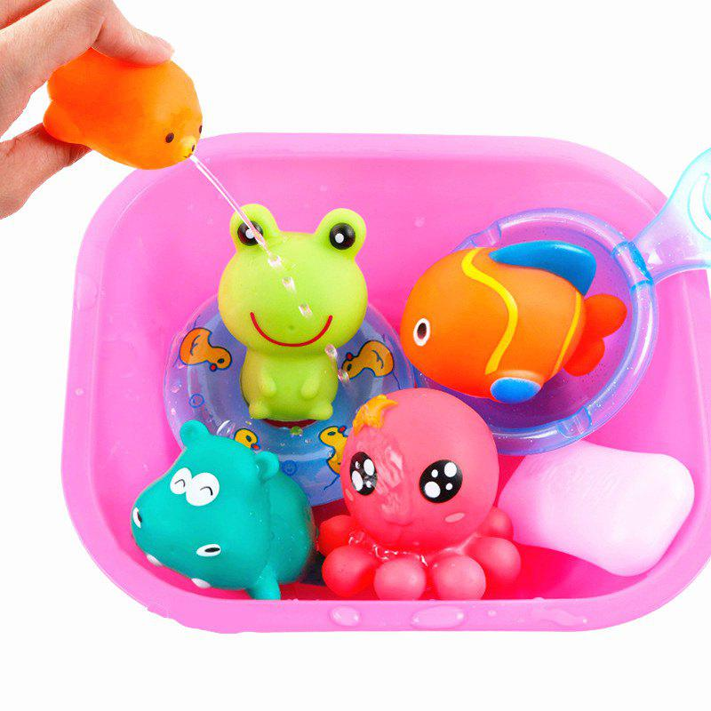 Pink Lovely Rubber Animals Baby Bath Toys Floating Squeeze Make ...