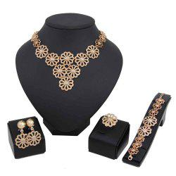 Gold-plated Multilayer Floral Accessories with Four-piece -