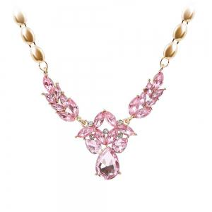 Gold-plated Rhinestone Necklace Earrings with 5 Color Options -
