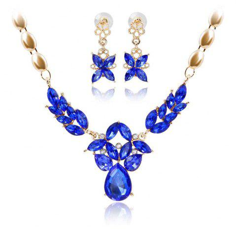 Unique Gold-plated Rhinestone Necklace Earrings with 5 Color Options