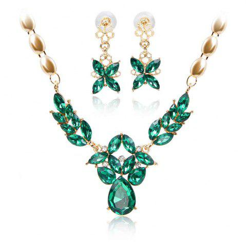 Outfit Gold-plated Rhinestone Necklace Earrings with 5 Color Options