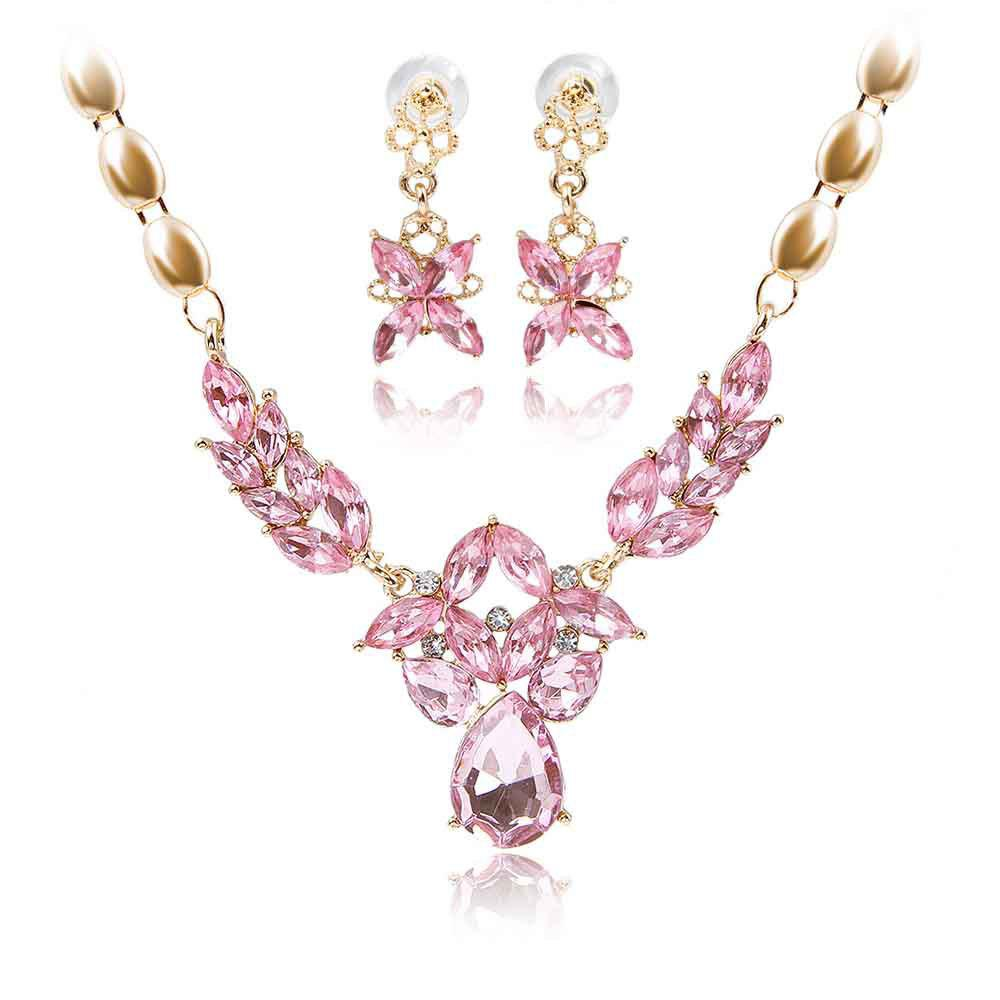 New Gold-plated Rhinestone Necklace Earrings with 5 Color Options