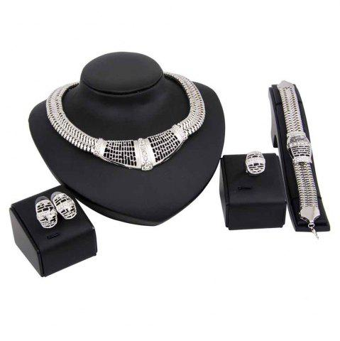 Trendy Silver-plated Necklace Earrings Jewelry Set