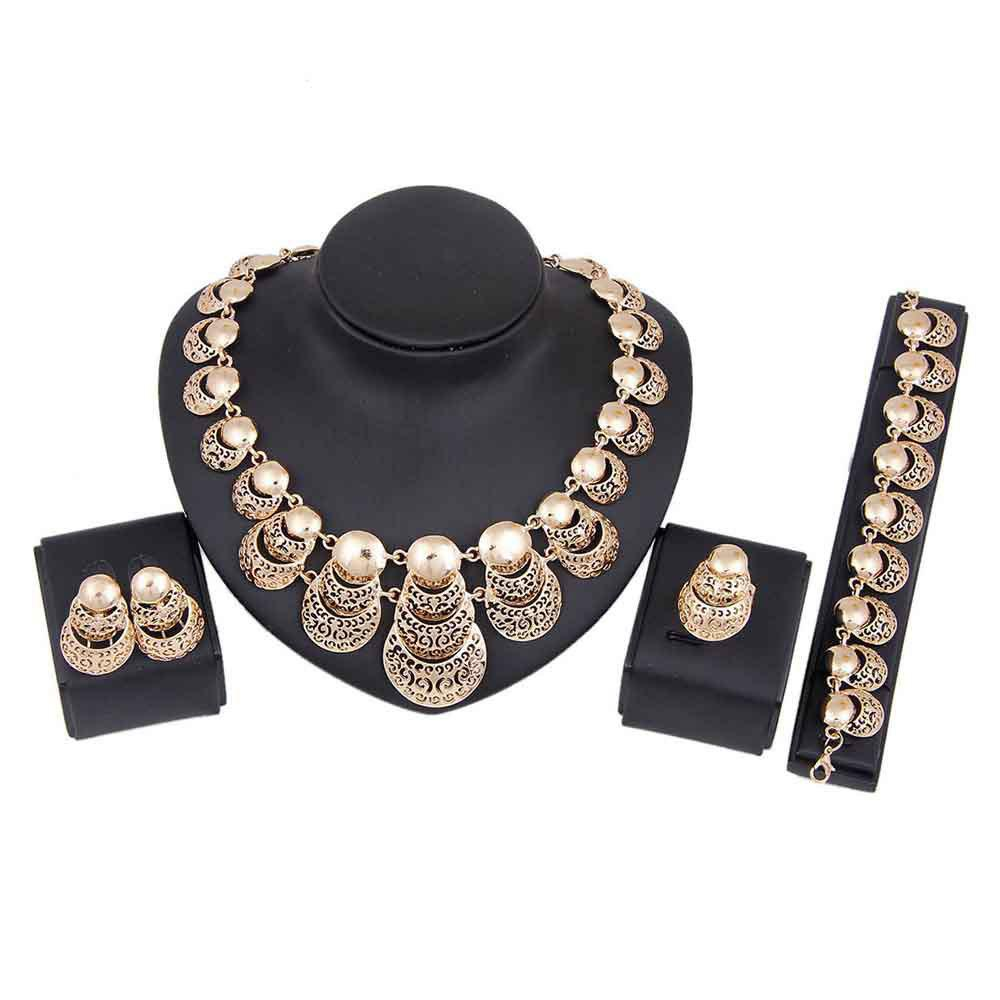 Buy Fashionable Gold-plated Necklace  with Earrings and Bracelet Rings