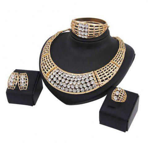 Fancy Women Exaggerate Faux Rhinestone Necklace Earrings Bracelet Ring Jewelry Set