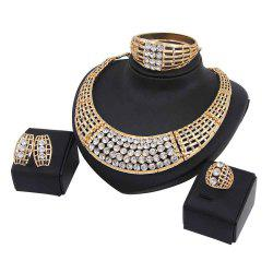 Women Exaggerate Faux Rhinestone Necklace Earrings Bracelet Ring Jewelry Set -