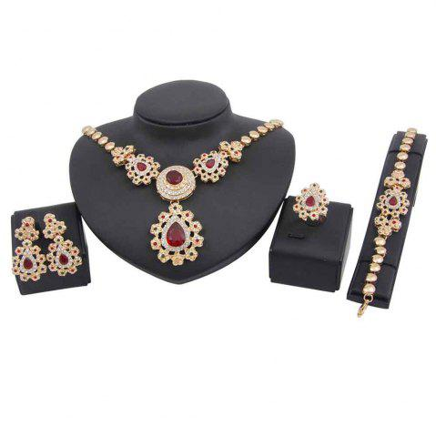 Trendy Gold-plated Ruby Necklace with Earrings and Bracelet Rings