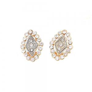Gold-plated Diamond Necklace with Earrings and Earrings -