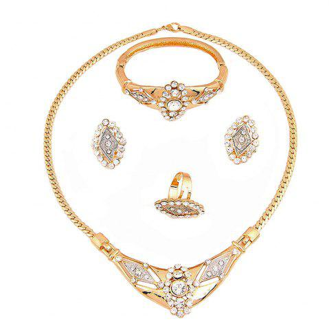 Online Gold-plated Diamond Necklace with Earrings and Earrings