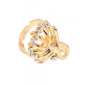 Fashion Diamond Gold Necklace Earrings Jewelry Four Pieces -