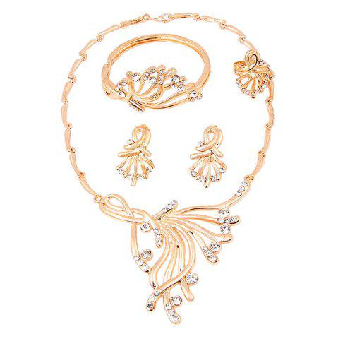 Outfits Fashion Diamond Gold Necklace Earrings Jewelry Four Pieces
