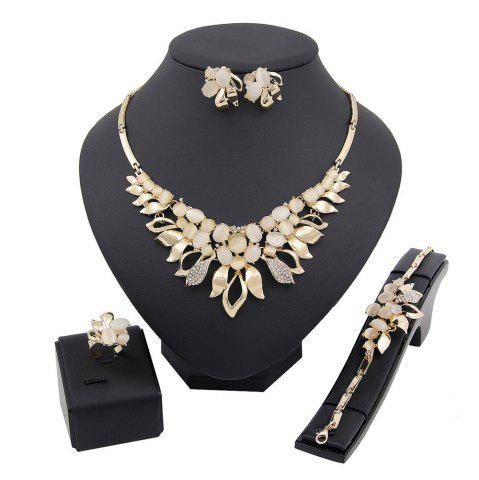 Outfits Diamond-encrusted Flower Pendant Necklace Earrings Suit