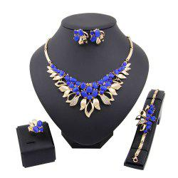 Diamond-encrusted Flower Pendant Necklace Earrings Suit -