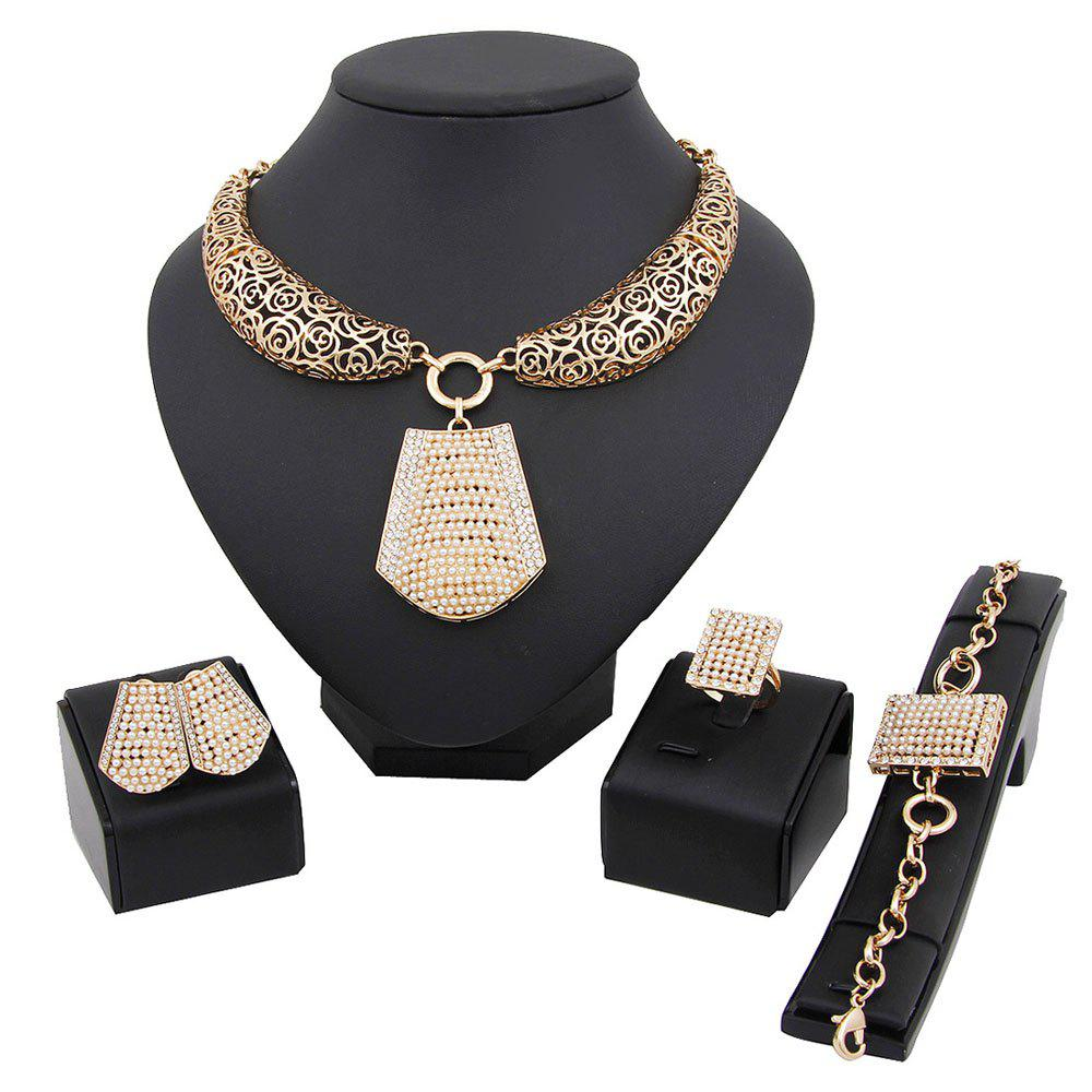 Trendy Fashion Diamond Jewelry Pendant Necklace Earrings Necklace Set
