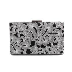 Vintage Black Embroidered Flowers Wedding Party Clutch  Ladies Handbag Chain Purse -