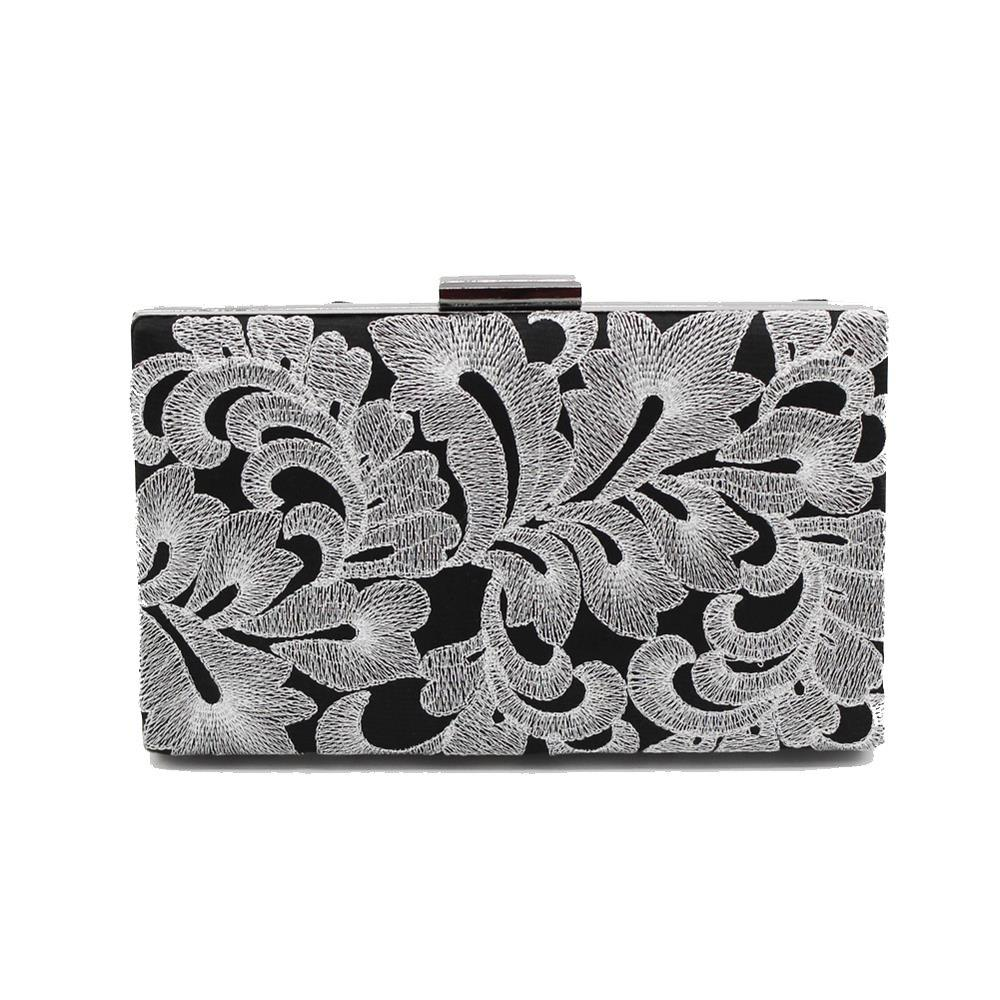 Shops Vintage Black Embroidered Flowers Wedding Party Clutch  Ladies Handbag Chain Purse