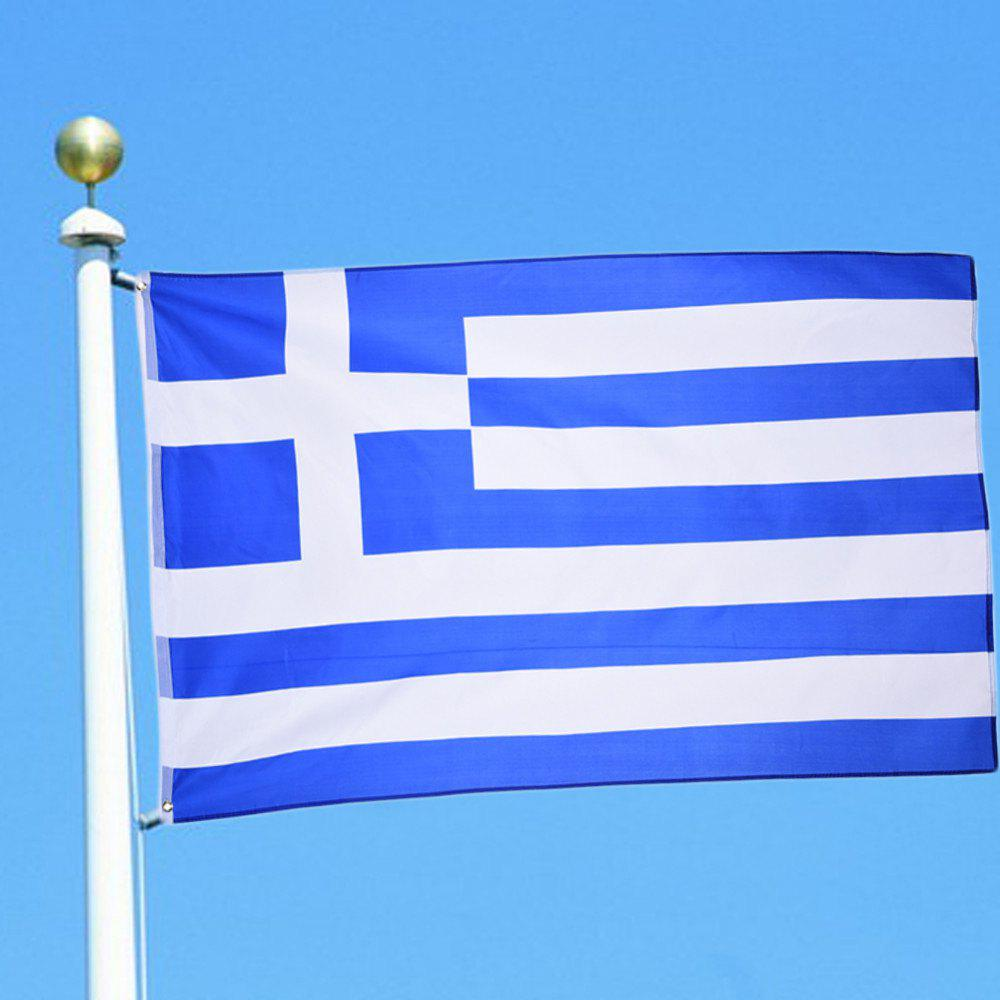Hot Hot Sale High Quality 90X150 Cm Greek Flag and Banner Decorated with Blue and White Stripes