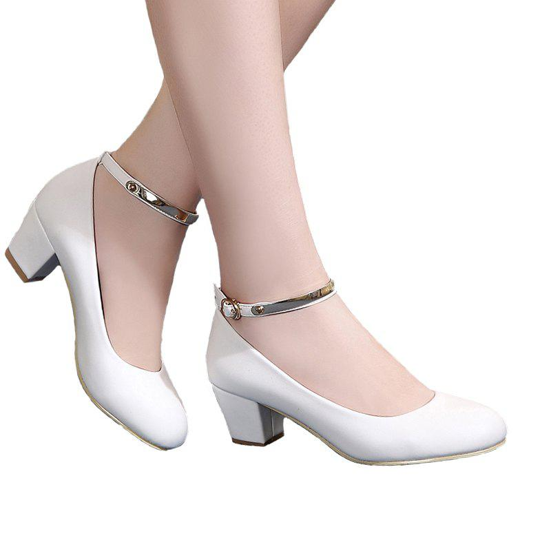 8cd73c82dfdec Online YALNN New Women's Sexy Bride Party Thick Round Toe Leather High Heel  Shoes For Office