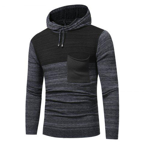 Cheap 2018 New Foreign Trade Men Fashion Spell Hooded Long-Sleeved Sweater