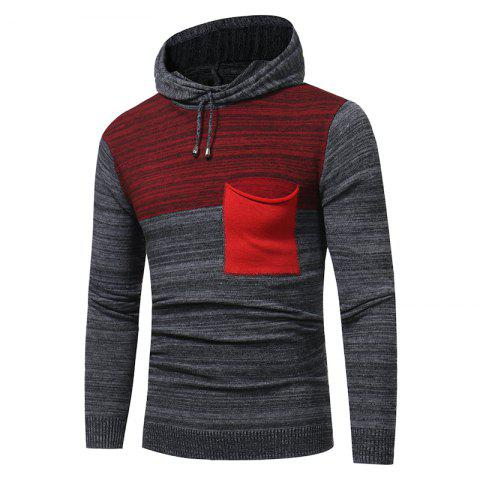Fashion 2018 New Foreign Trade Men Fashion Spell Hooded Long-Sleeved Sweater