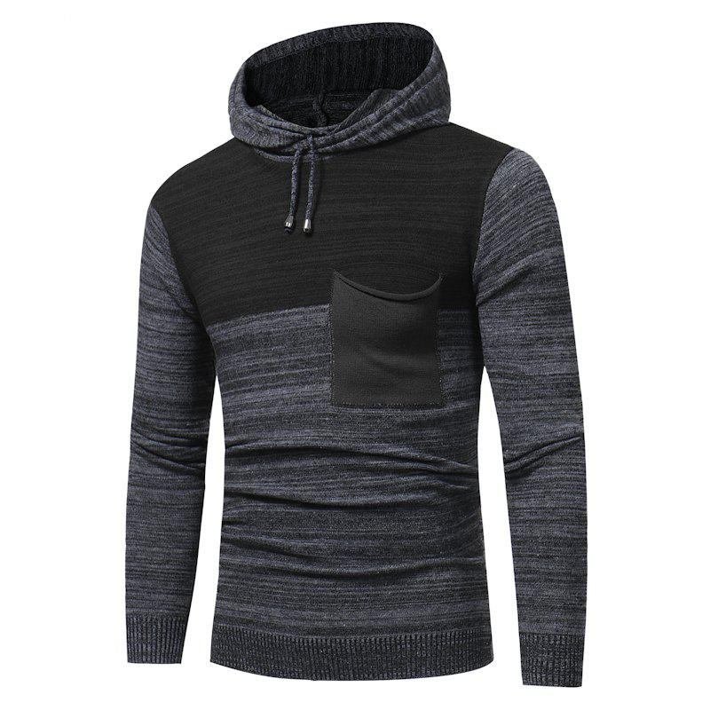 Online 2018 New Foreign Trade Men Fashion Spell Hooded Long-Sleeved Sweater