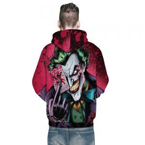 Fashion 3D Poker Clown Printing Men's Long-Sleeved Hoodie Winter Loose Shirt -