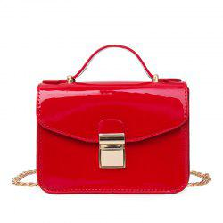 The Patent Leather Bright Face Lock Chain Jelly Single Shoulder Slanted Small Square Bag. -
