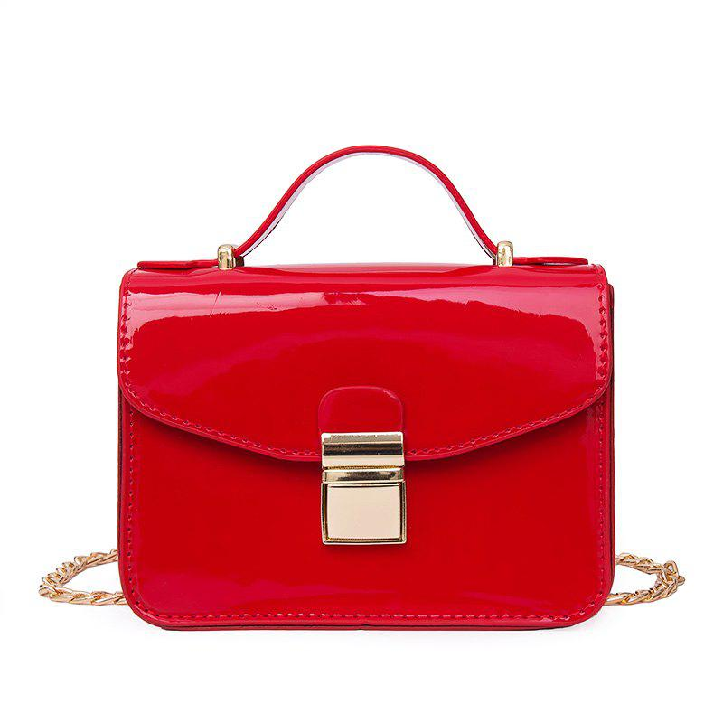 Discount The Patent Leather Bright Face Lock Chain Jelly Single Shoulder Slanted Small Square Bag.