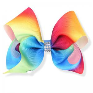 Rainbow Gradient Color Rib with Girls Bow Hairpin Hot Drilling Children Hair Accessories -