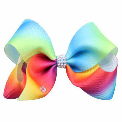 Store Rainbow Gradient Color Rib with Girls Bow Hairpin Hot Drilling Children Hair Accessories